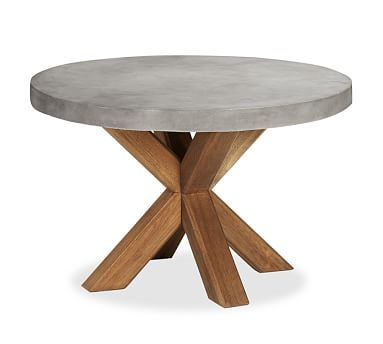 Abbott Concrete Top Round Fixed Dining Table Potterybarn Dinette