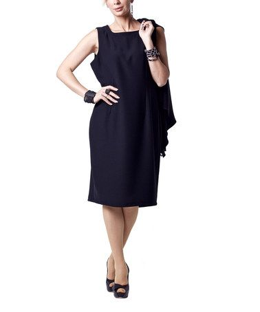 Another great find on #zulily! Black Square-Neck Sheath Dress by Zed Collection #zulilyfinds