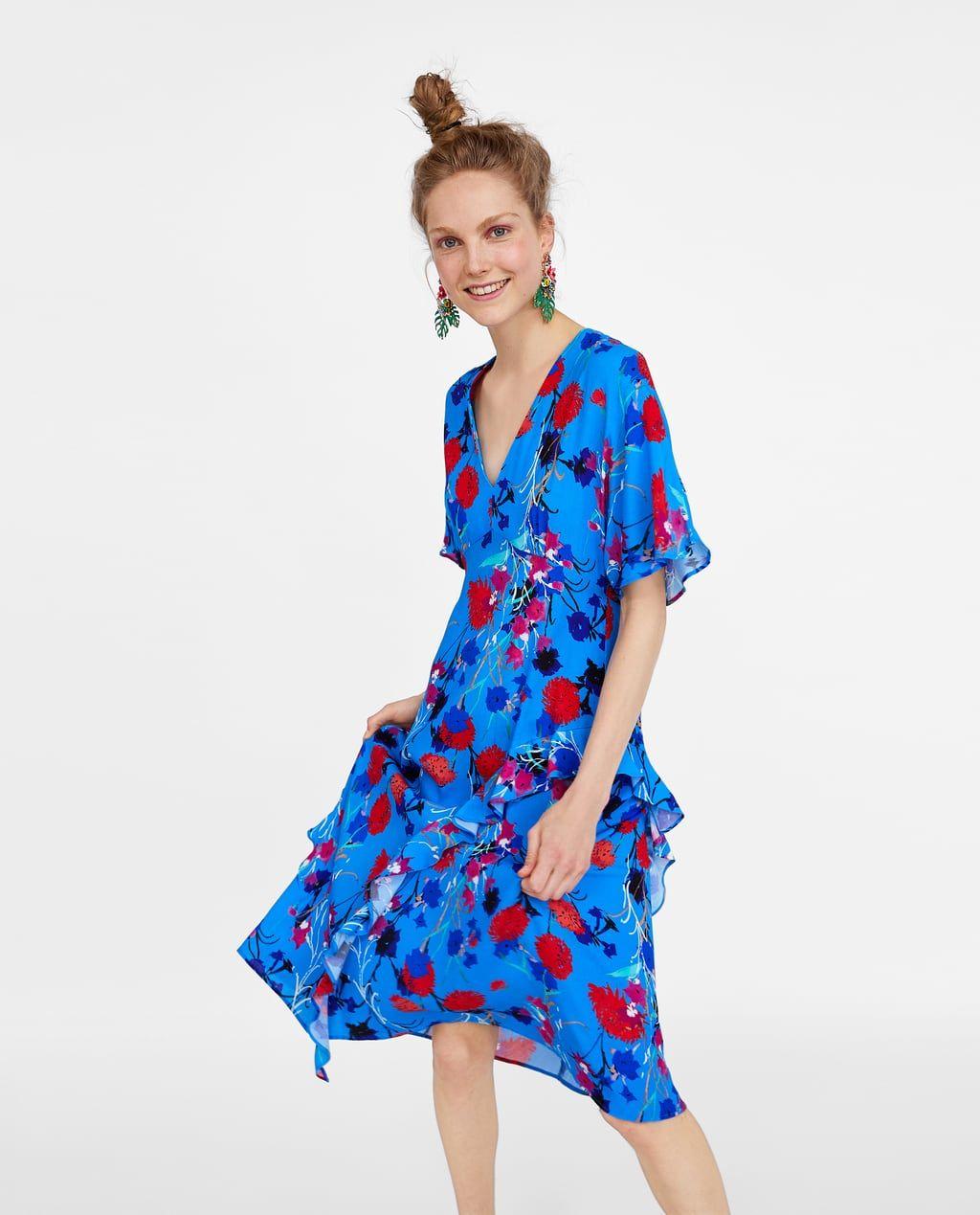 Printed Dress With Frills Summer Dresses Floral Dress Wedding Guest Dresses [ 1269 x 1024 Pixel ]