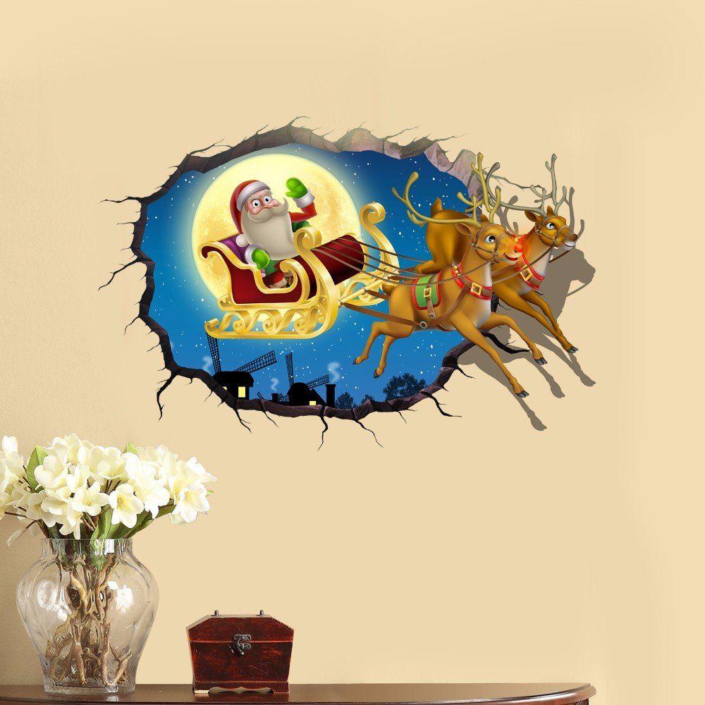 PVC 3D Christmas Santa Claus Elk Car Sticker Wall Decals Home 3D ...