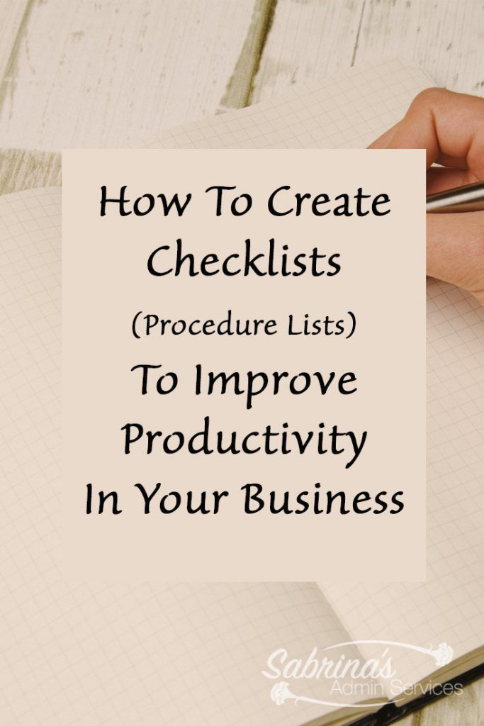 How to create checklist or procedure lists to improve productivity