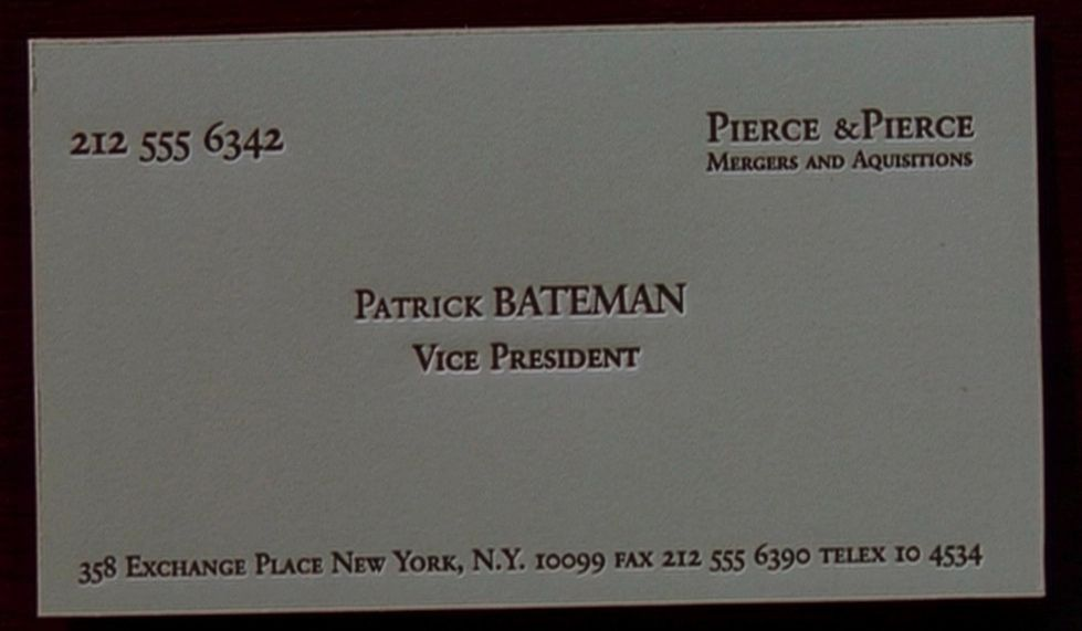 Image result for american psycho business card font | Business ...