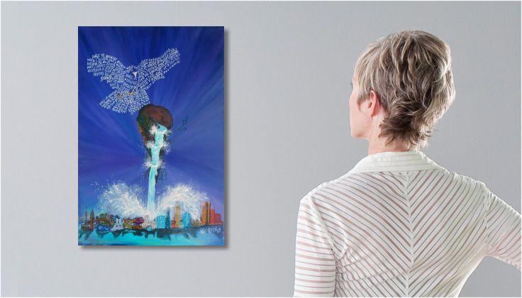 Tableau Peinture #surréaliste  LE MESSAGER une toile de #DRAGONUS