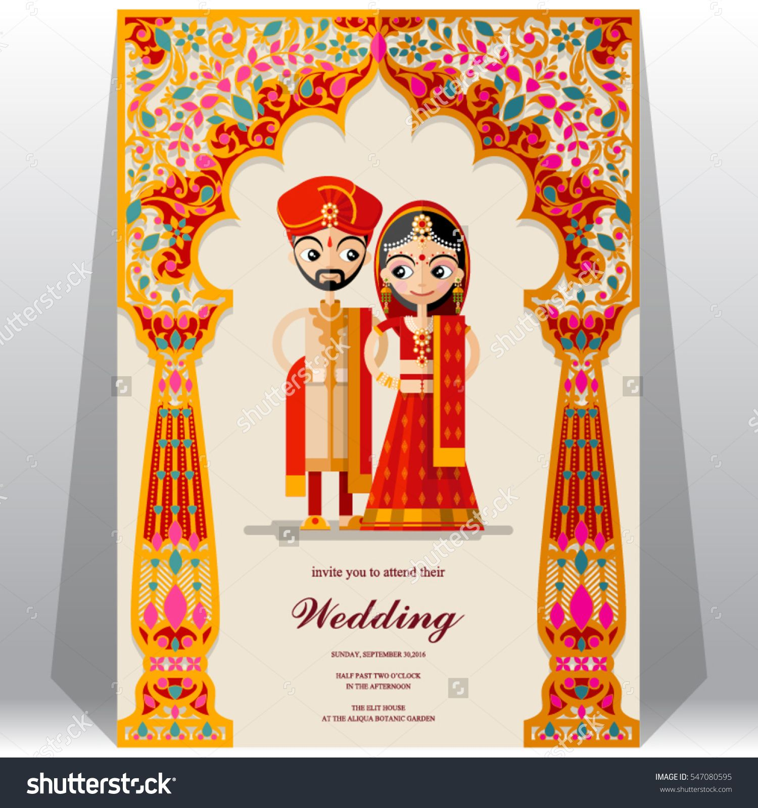 stock vector indian wedding invitation card 1 500