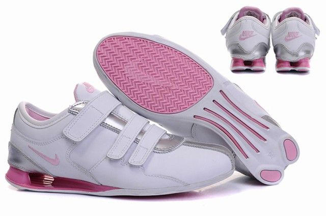 133a3a3cbc84 Nike Shox R3 Silver Pink Velcro Shoes Womens Air Shox Womens sale on http