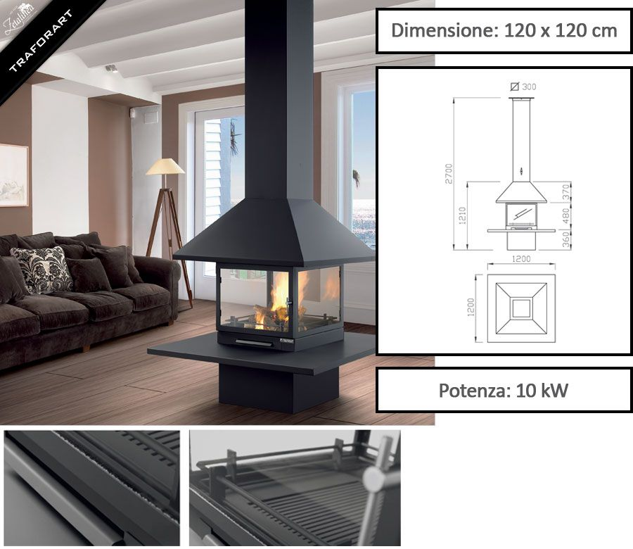 Camino design da interni VULCANO di Traforart - Zetalinea SRL