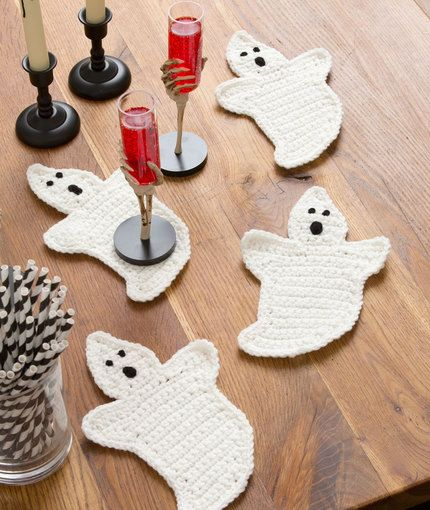 Ghost coasters, found on : http://www.redheart.com/free-patterns ...