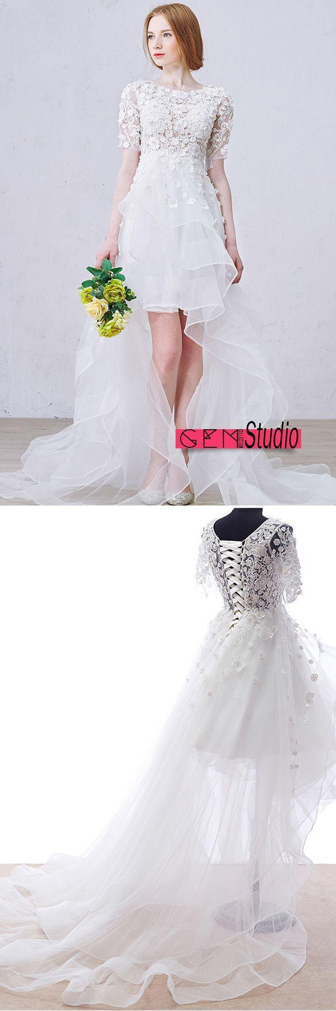 Boho high low wedding dresses with sleeves stylish aline