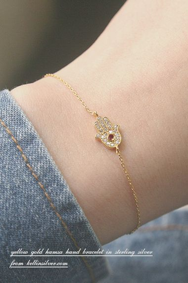 9c14344db4b Ruby Swarovski Gold Hamsa Evil Eye Bracelet Sterling Silver FROM  KELLINSILVER.COM