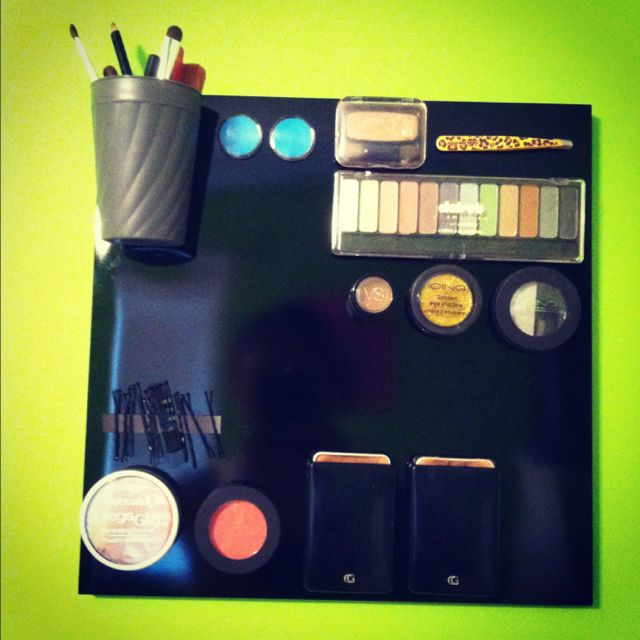 MAGNETIC MAKEUP BOARD! purchase a dry erase board and attach magnets to your makeup, love it!