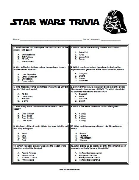 Ambitious image with regard to star wars trivia questions and answers printable