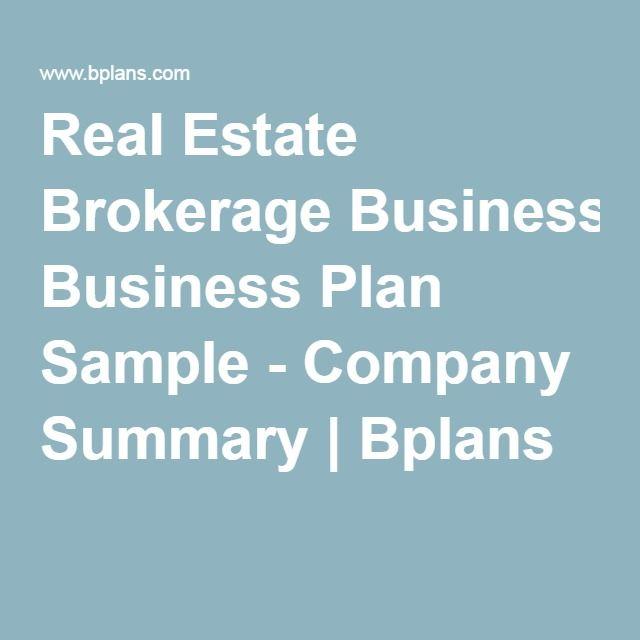 Real Estate Brokerage Business Plan Sample - Company Summary - real estate business plan