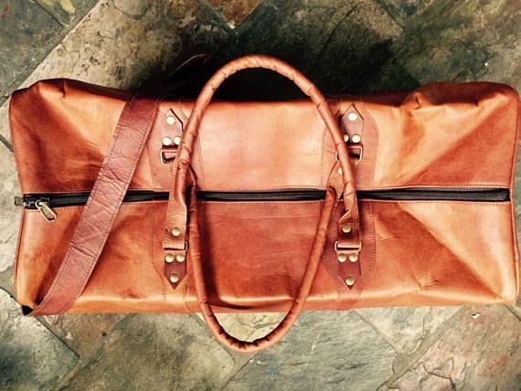Leather Luggage Overnight Bag Leather Travel Bag Luggage