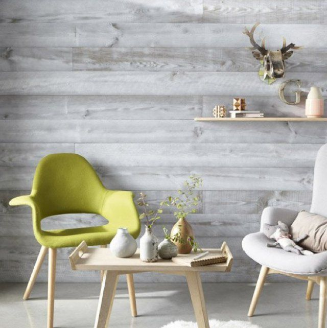 Lambris gris | chaise et fauteuil | Home Decor, Interior walls et ...