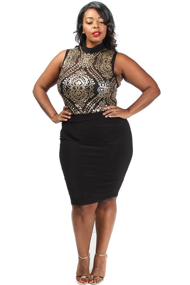 f2d734f6832b3 This sexy plus size dress has a metallic baroque top