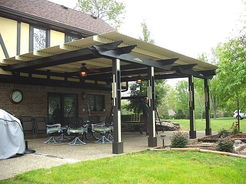 Louvered roof Pergola, Backyard pavilion, Patio garden