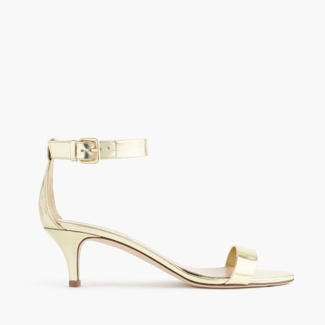 Size 6 Gold With A 2 Inch Heel I Would Prob Be Able To Wear These For An Extended Amount Of Time Mirror Metallic Kitten Heel Sandals Kitten Heel Sandals