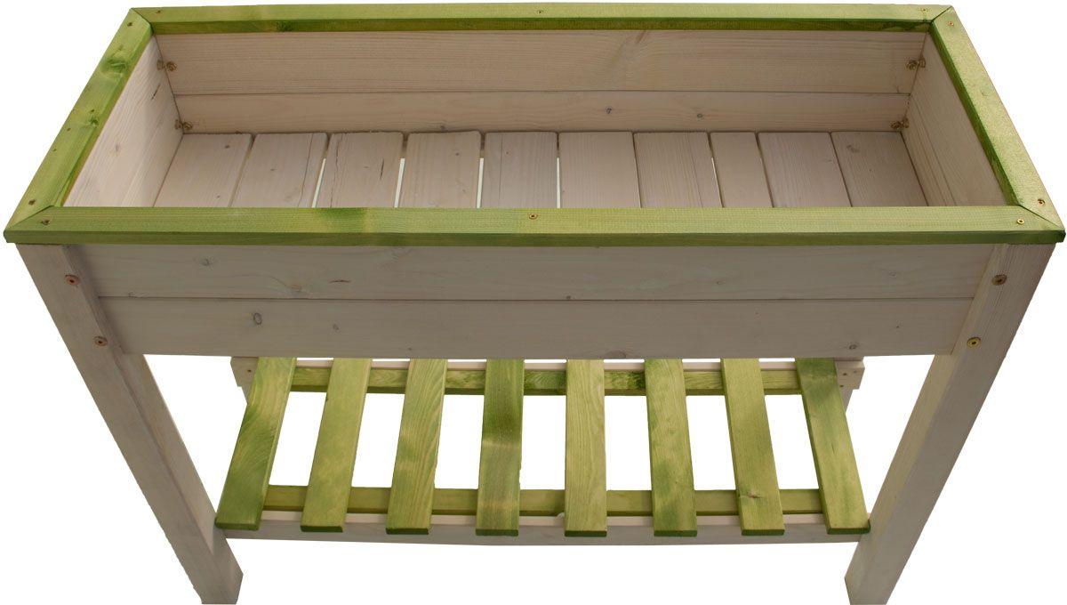 Hochbeet aus Holz weiß/grün 100 x 48 x 78 cm | PFLANZZUBEHÖR | GARTEN | Kajak Kanu Elektromotor bei BeachandPool.de online kaufen