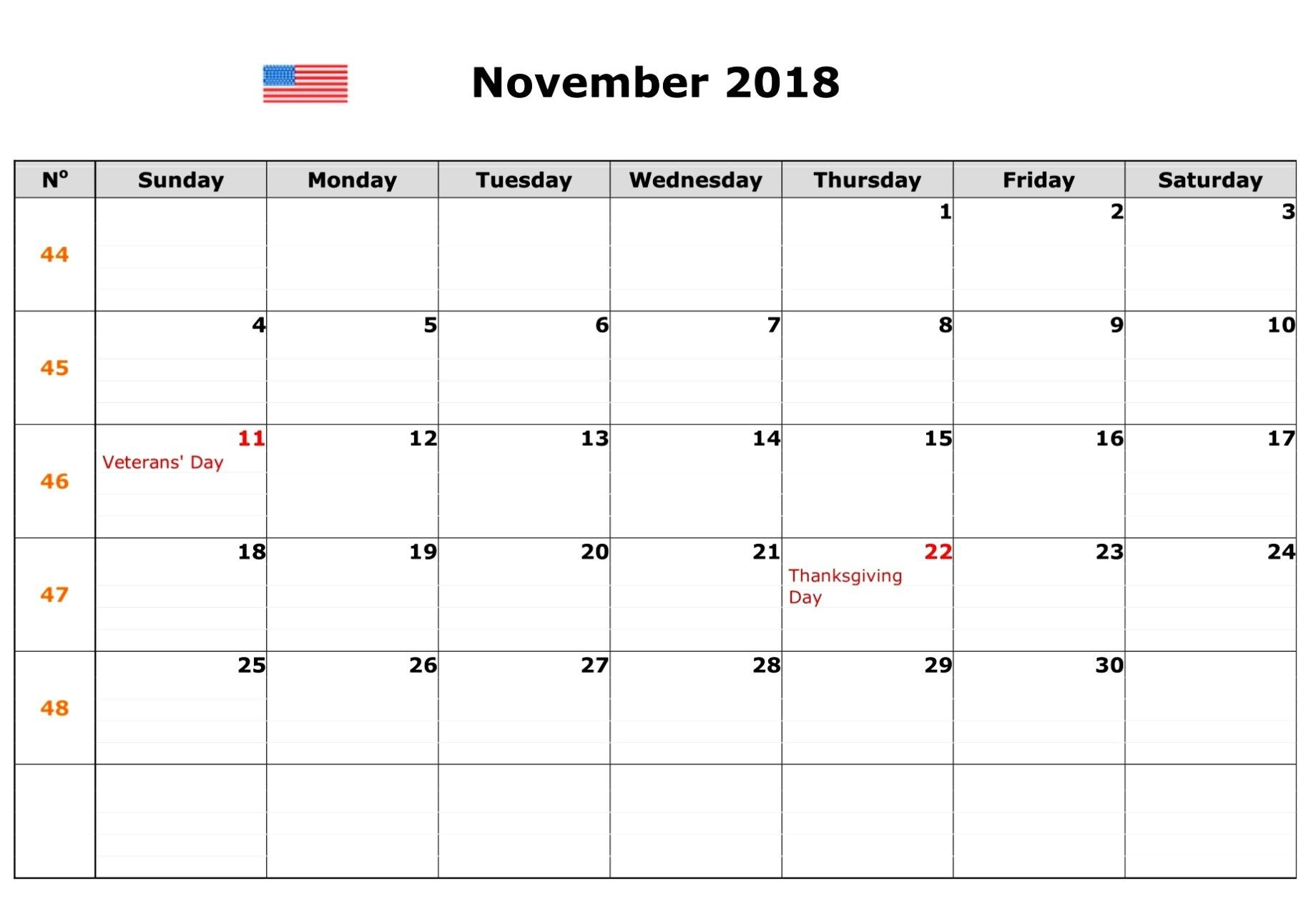 November 2018 Calendar With Holidays Usa 999 Unique November