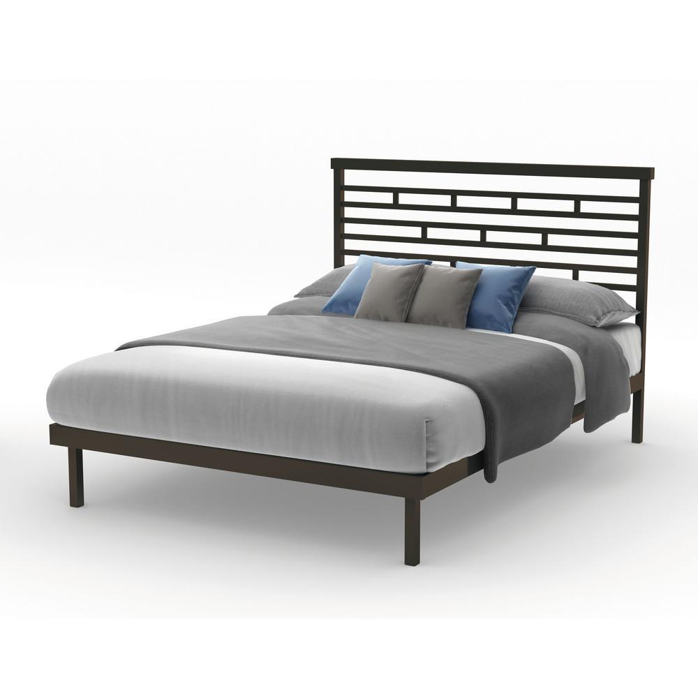 Best Amisco Highway Brown Metal Queen Size Platform Bed 14379 400 x 300