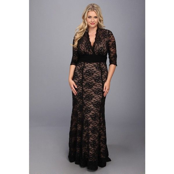 cfb6a8534f9 Kiyonna Screen Siren Lace Gown (Black and Nude) Women s Dress ( 228) ❤  liked on Polyvore featuring plus size women s fashion