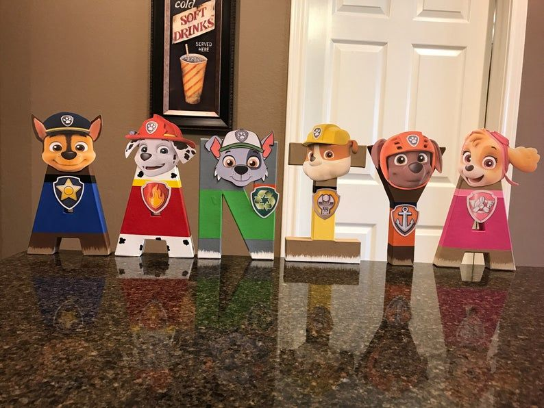 Paw Patrol Custom Name Letters  price is per letter - Paw patrol birthday theme, Paw patrol birthday, Paw patrol, Paw patrol birthday party, Paw patrol party, Paw - These are priced per letter Please make sure to order the correct quantity of letters from the drop down box to spell the name you would like  These custom made letters are painted and decorated to look like the Paw Patrol Characters and are 8  tall    These are lightweight and made of mâché material   They can stand on their own except for the letters F, J, P These can be made in any color and have any letters to spell any words    If there is something different you would like, please convo me and I will work with you to come up with something you are sure to love   These are great for birthday parties, new babies, children's rooms, ect  NOTE This item is not a licensed product and I do not claim ownership over the images used  This listing is strictly for my TIME AND CREATIVITY to make your custom party decorations and save you time   All copyrights and trademarks of the images used belong to their respective owners and are not being sold