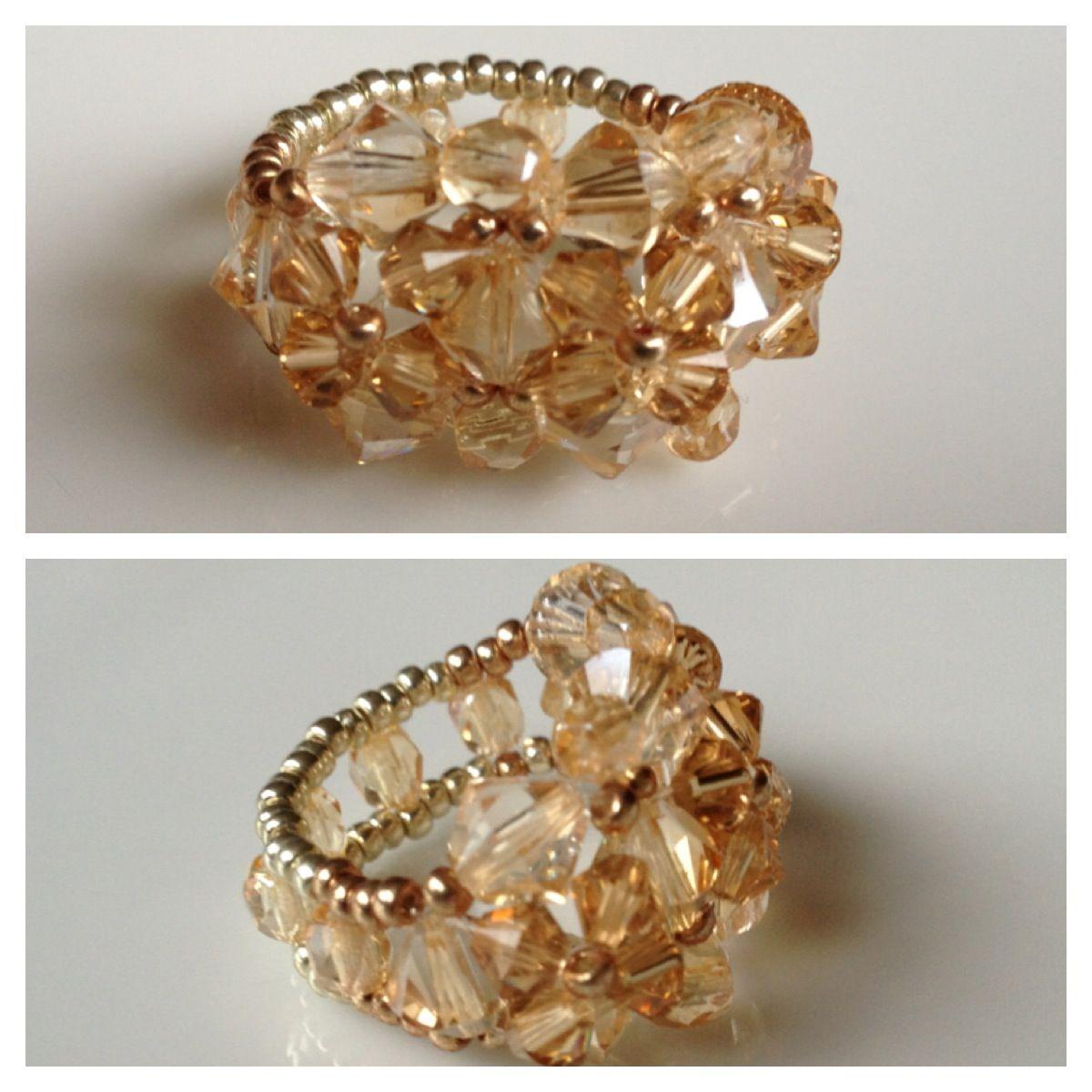 84257ddf7 Swarovski Crystal Seed Bead ring - Yuki's Rings | turorials | Beaded ...