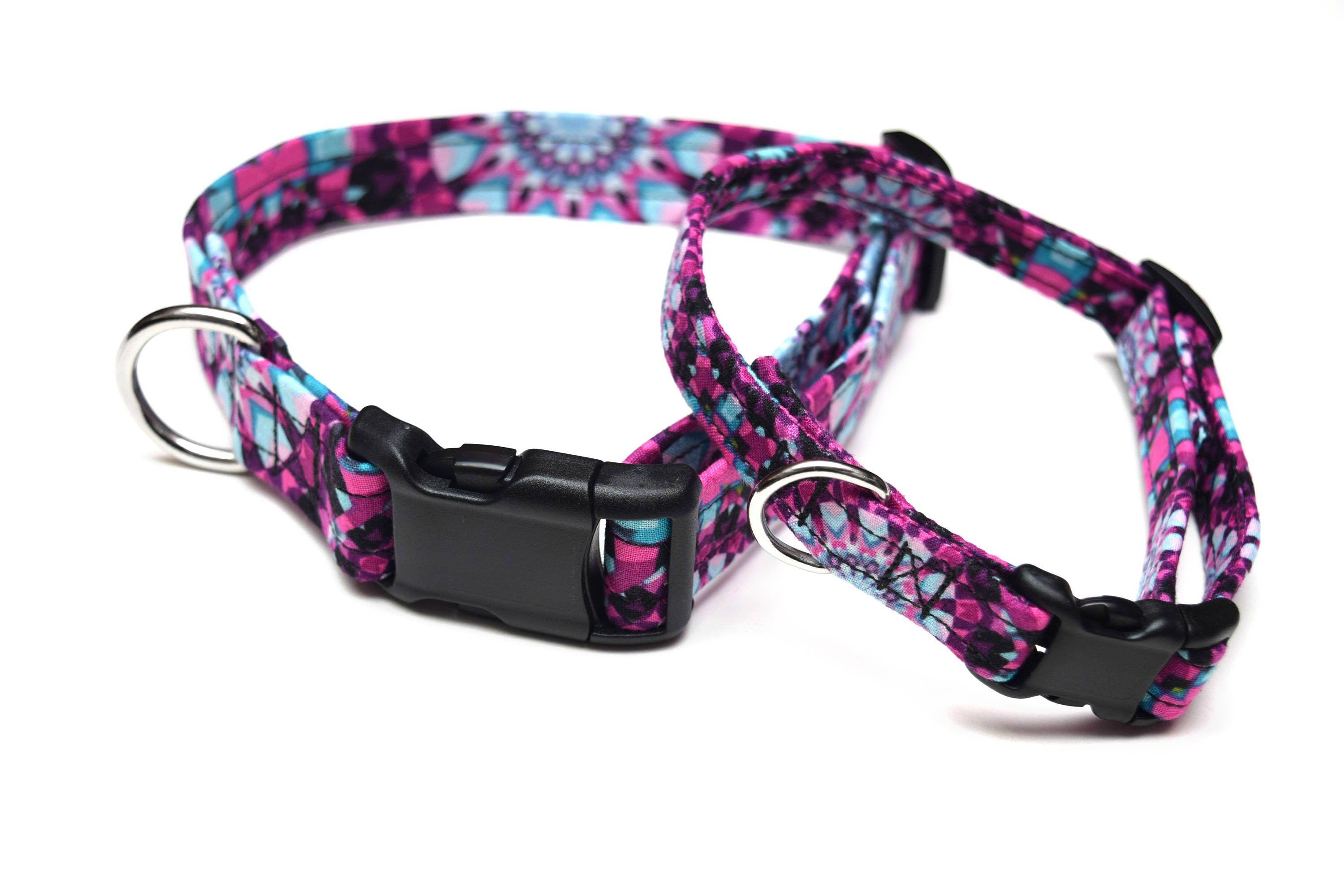 Purple geometric dog collar girly dog collar fabric dog collar