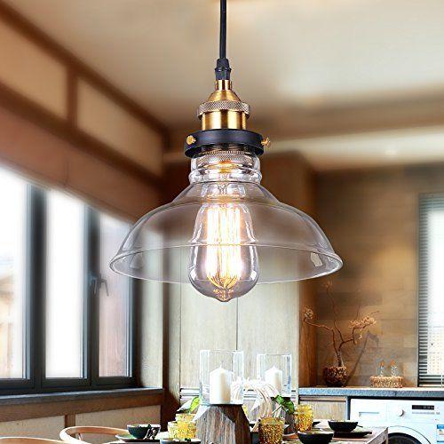 Lámpara de techo lámpara de vidrio colgante de luz Fixture con Shade ...