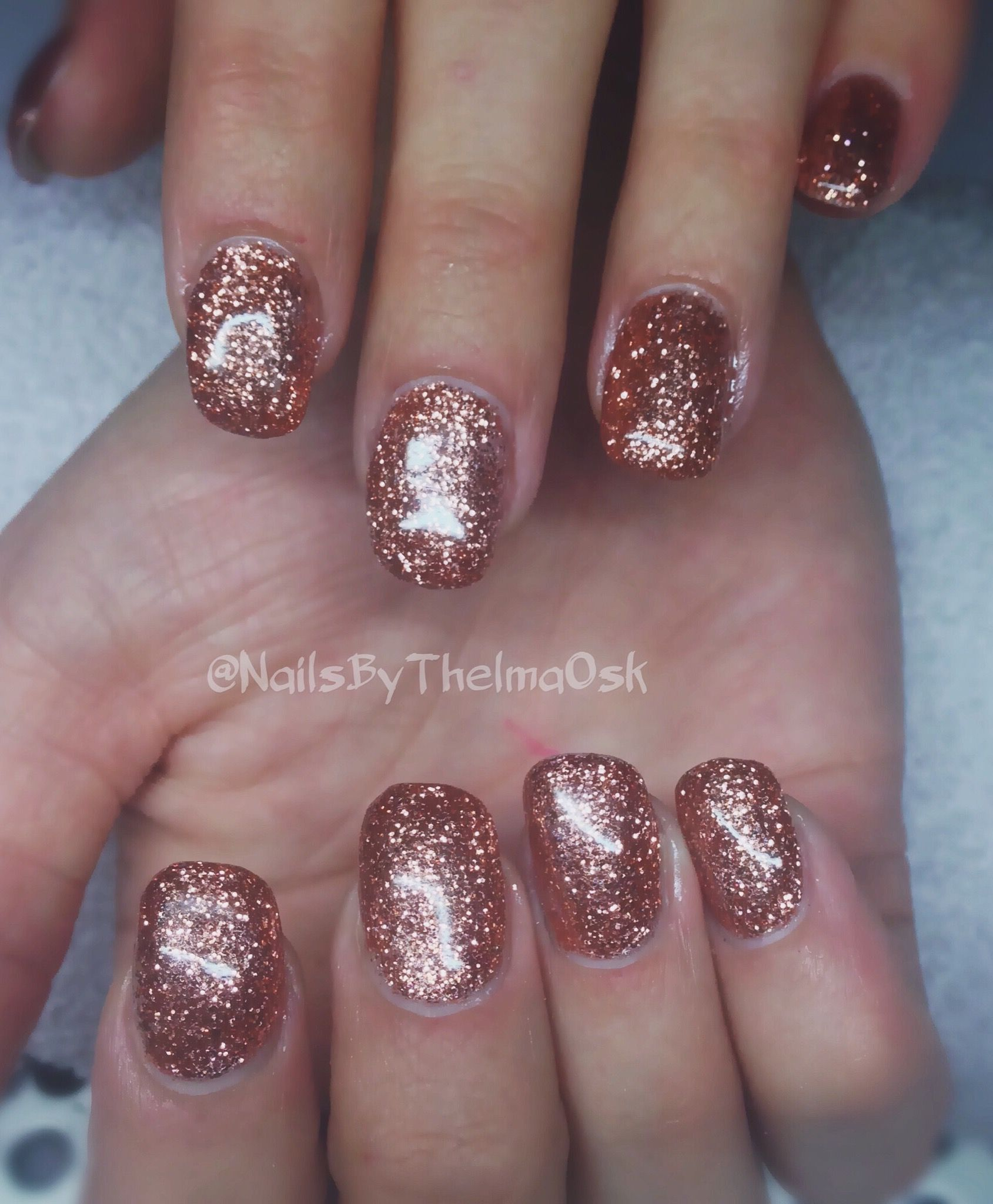 Rose Gold Copper Glitter Xmas And New Years Eve Gel Nails