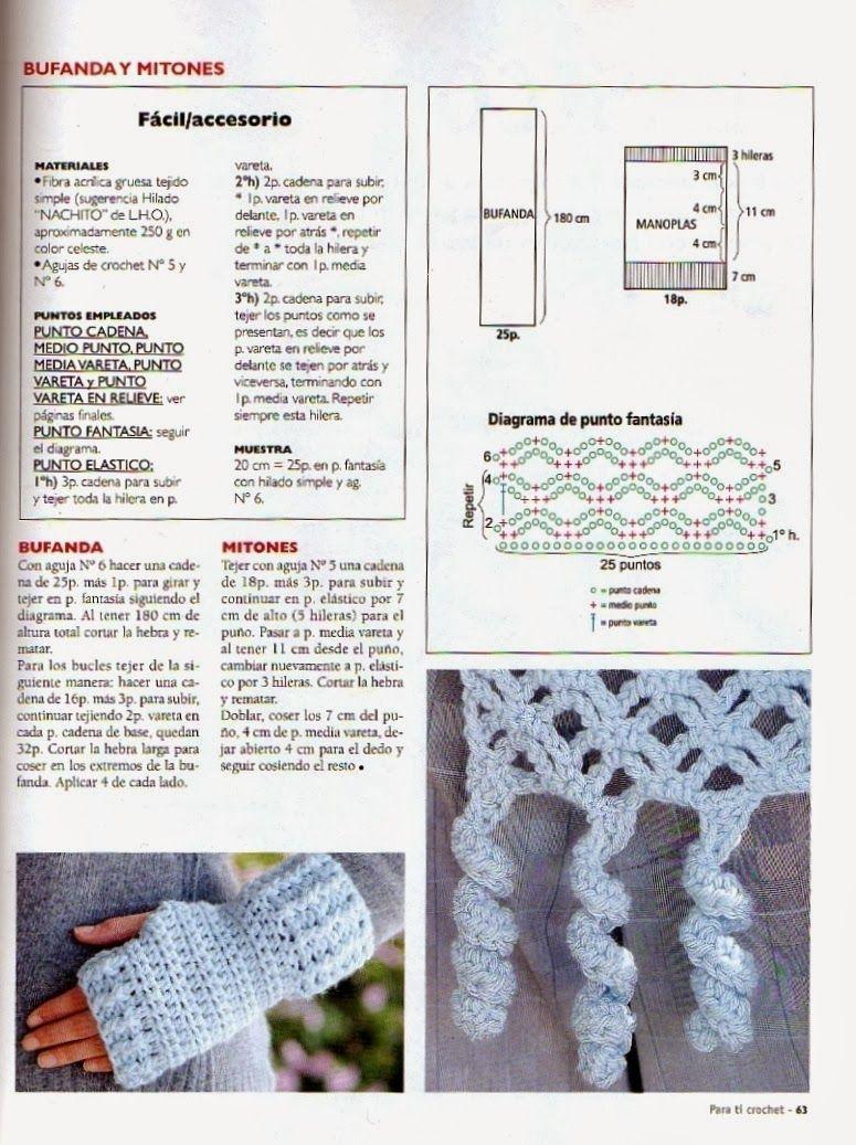 Patrón Esquema Diagrama Crochet Ganchillo - Bufanda | ♥ Crochet ...