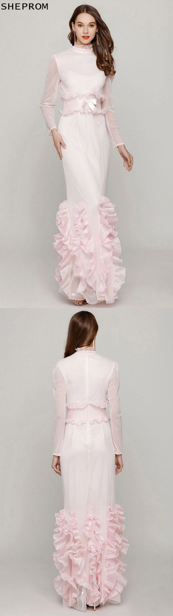 Light pink fishtail fitted prom dress with high neck long sleeves