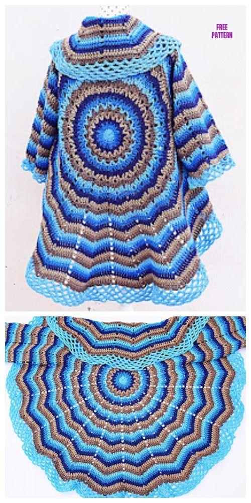 Easy Circle Jacket Sweater Wrap Free Crochet Pattern – Video