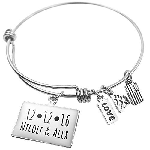 Personalized Date With Heart And Names Expandable Wire Bangle Bracelet -- Check this out by going to the link at the image.