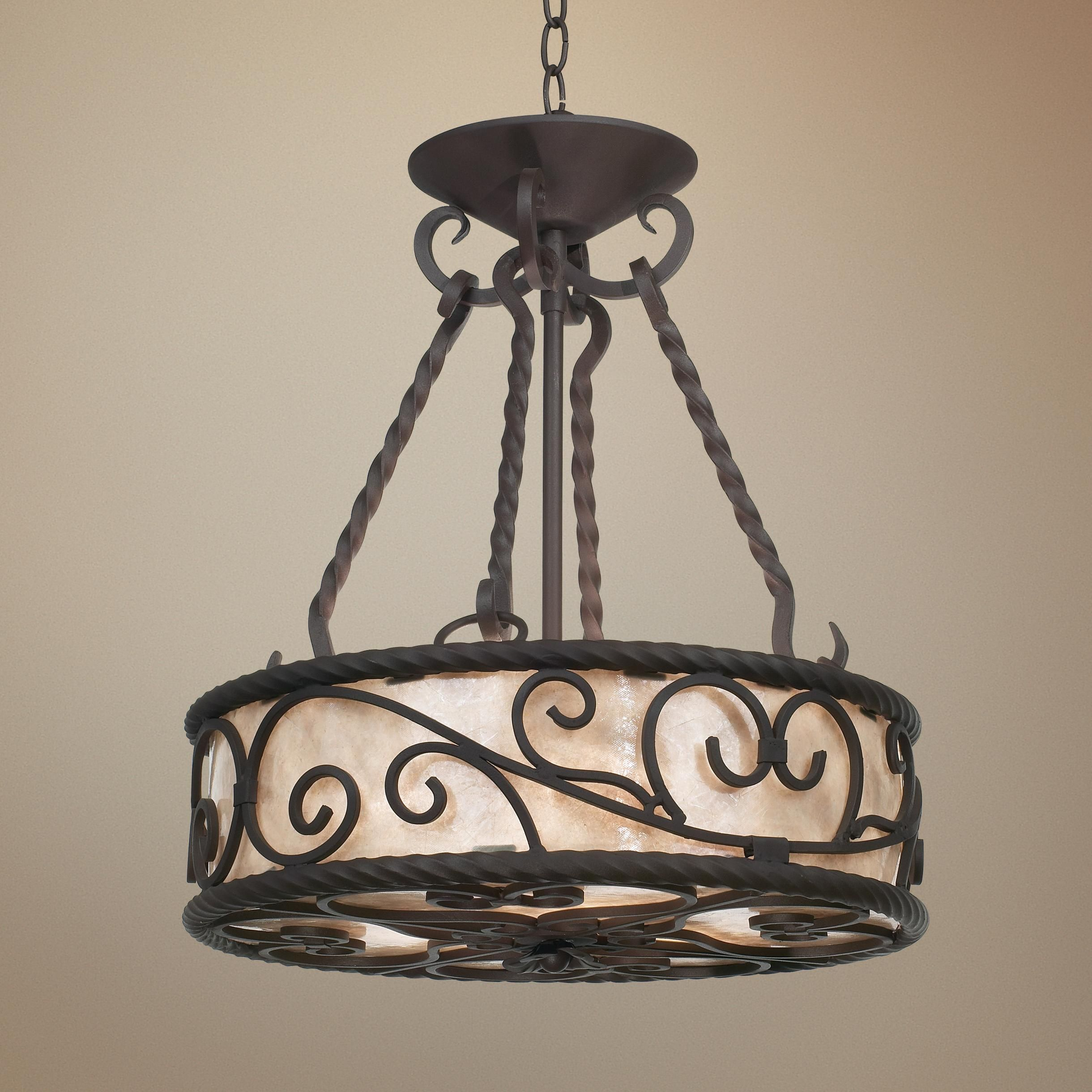 """Natural Mica Collection 17"""" Wide Pendant Chandelier - #93281"""