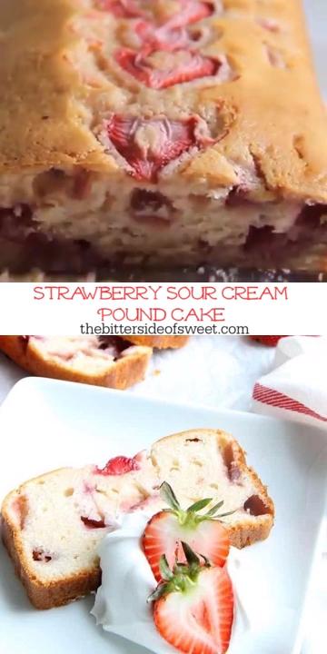 Strawberry Sour Cream Pound Cake