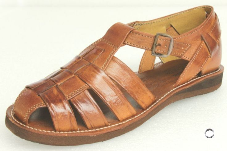 Men s Mexican Huaraches Real Leather Brown Sandals Strapped