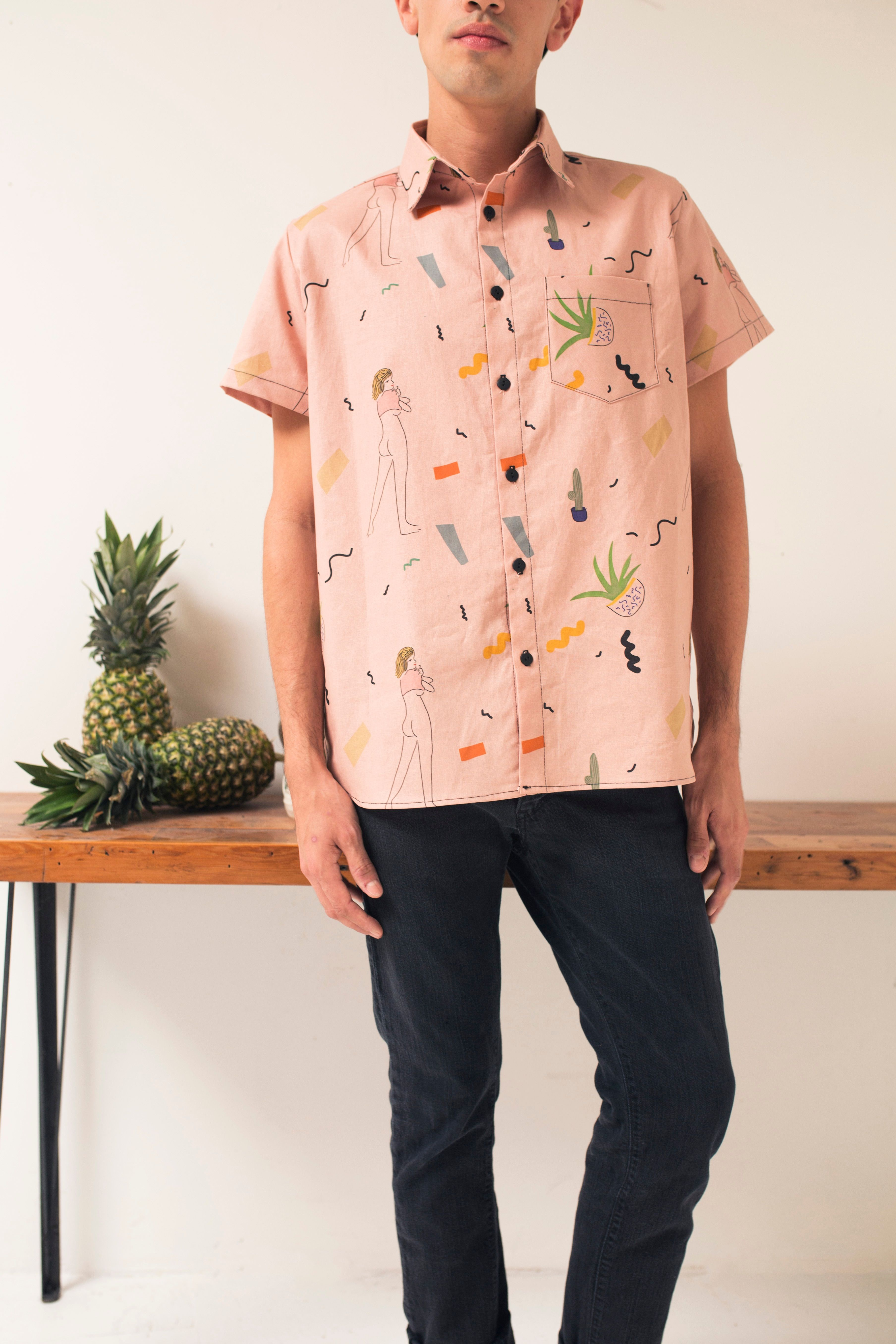 Charlie Button Down In Rose Print