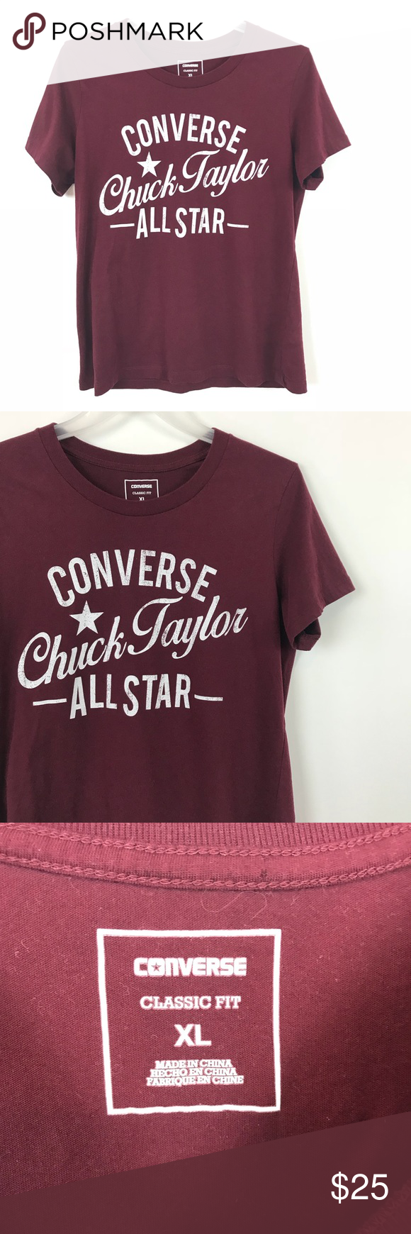d473cbb06d7a Converse Chuck Taylor Maroon Graphic T-Shirt Converse Chuck Taylor women s  cut short sleeve graphic t-Shirt sz XL. Excellent pre owned condition ...