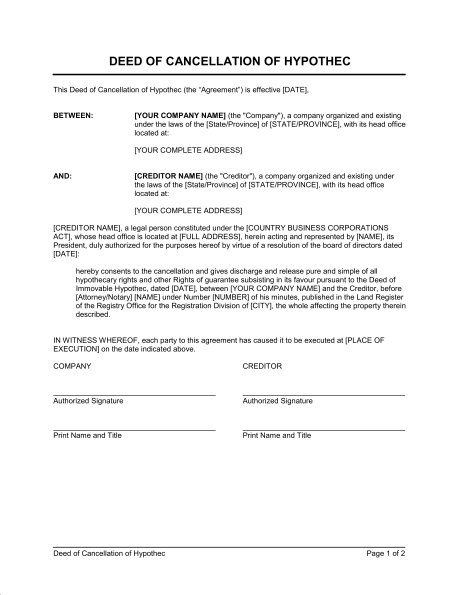 Notice of Cancellation of Contract Template Sample Form – Letter to Terminate a Contract