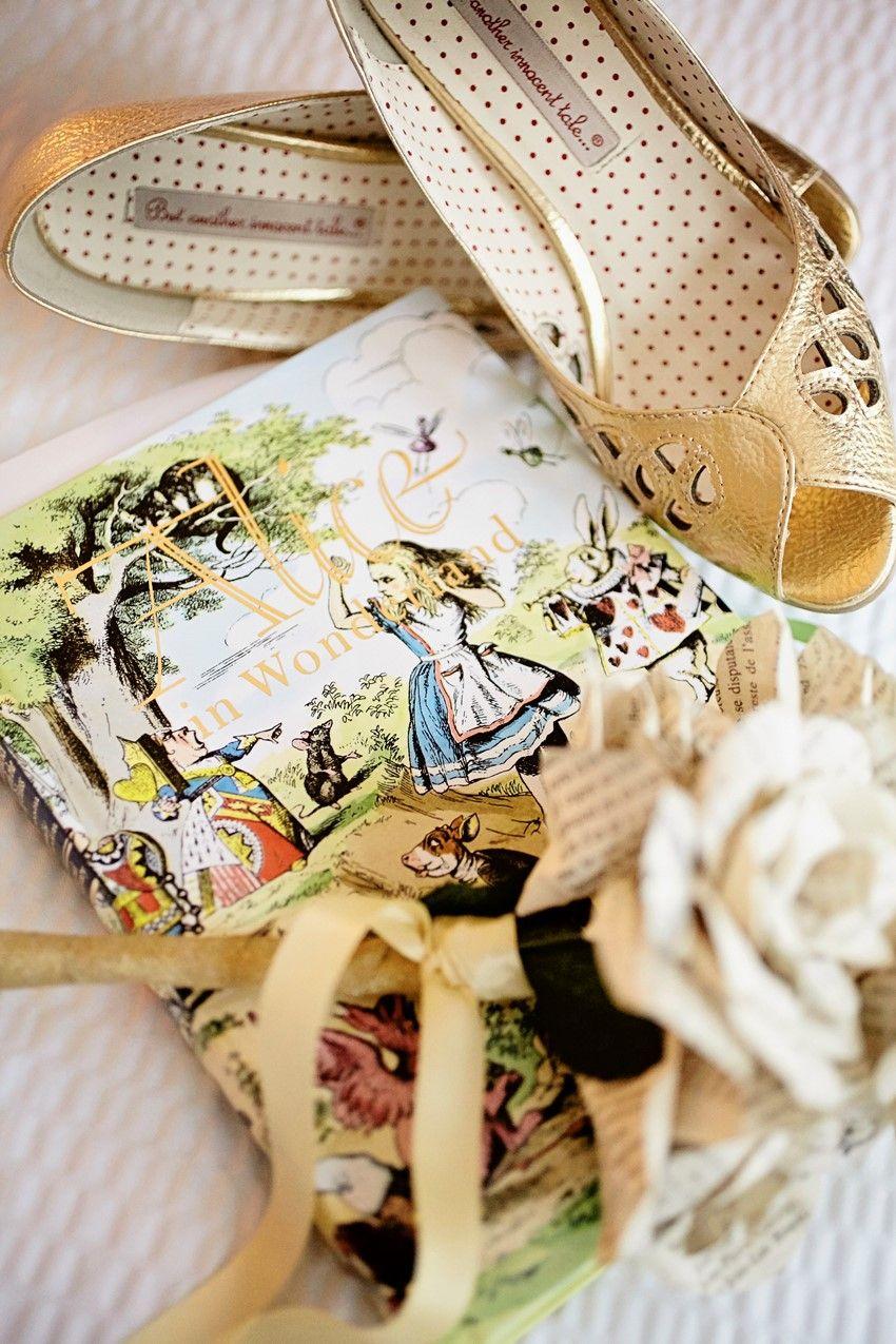 Alice in wonderland themed wedding dress  A Whimsical uAlice In Wonderlandu Themed DIY Wedding  Gold bridal