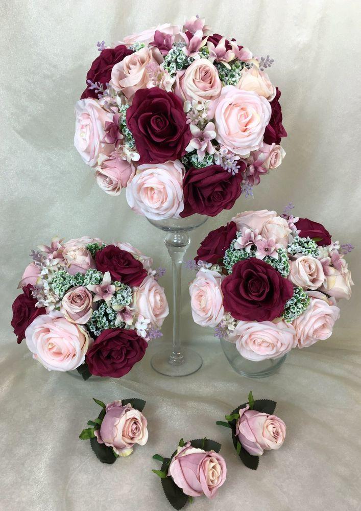 Artificial Silk Flower L Pink Burgundy Cream Roses Bridal Wedding Bouquet Set