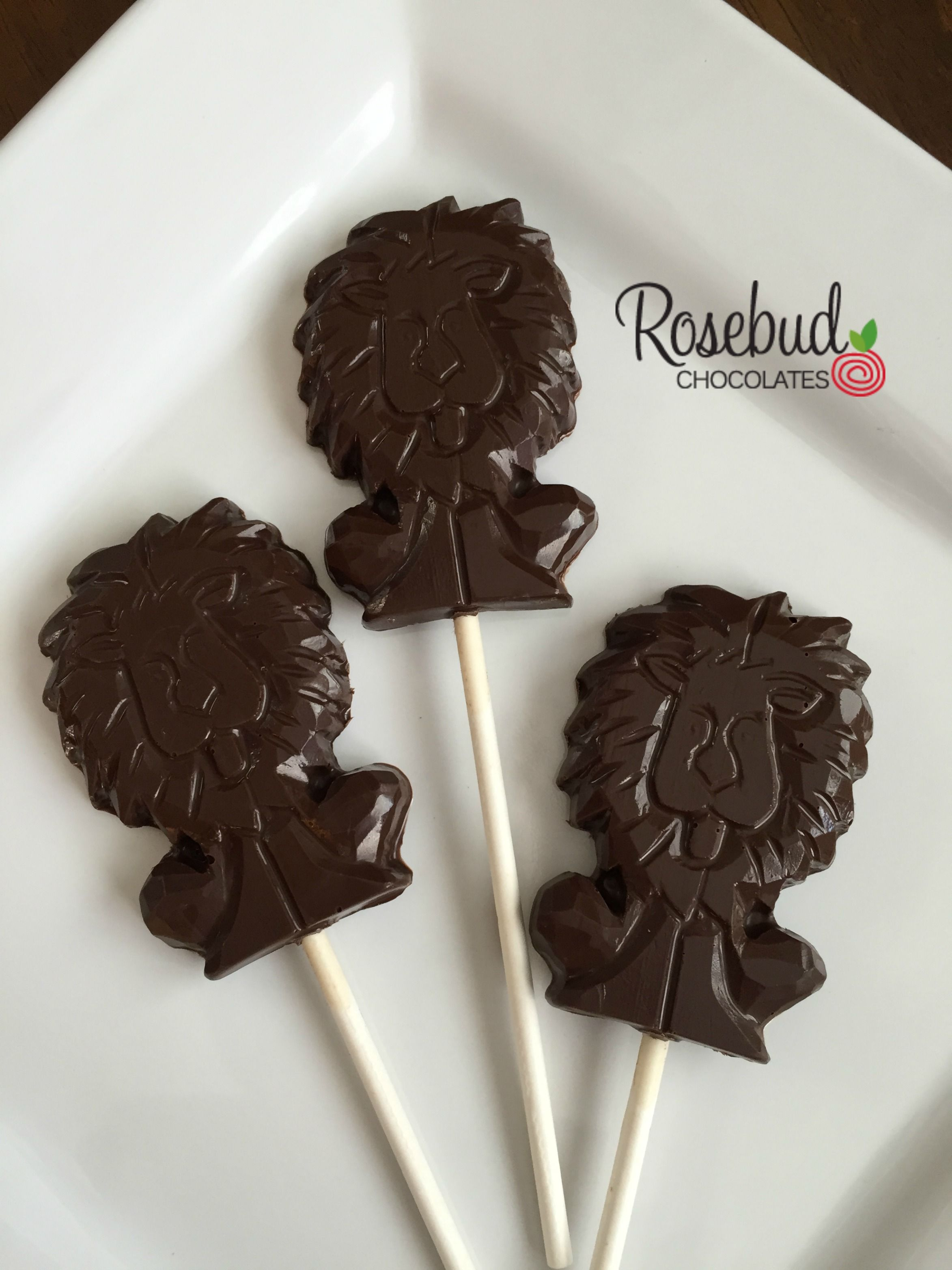 Dark Chocolate Lion Lollipop Favors, Jungle Birthday Party Candy www.rosebudchocolates.com