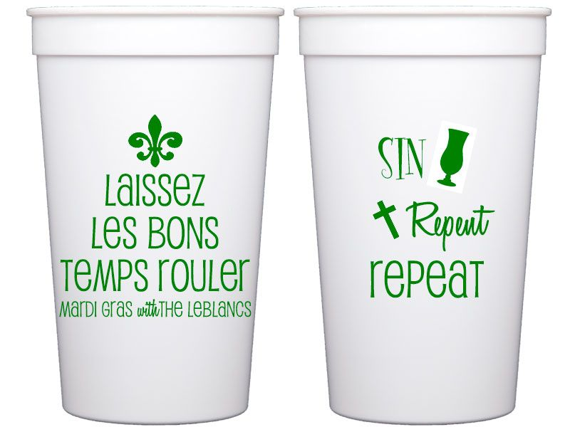 personalized plastic cups mardi