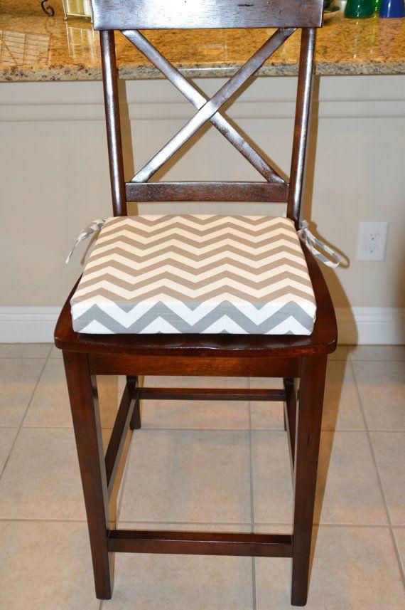Gray And White Chevron Stripes Fabric Chair Cushion Replacement Chair Cushion Durable Cotton Slub Seat Cushion Cover With 2 Foam Insert Kitchen Chair Cushions Chair Fabric Chair Cushions