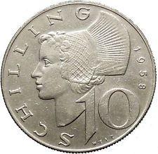 1958 Austria Wachau Woman 10 Schilling Silver Austrian Coin With