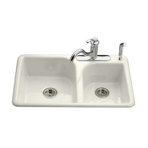 $340.28 KOHLER Efficiency Self-Rimming Cast Iron 20-3/4 in. x 31-7/8 in.x 7.65 in. 4 Hole Double Bowl Kitchen Sink in Biscuit