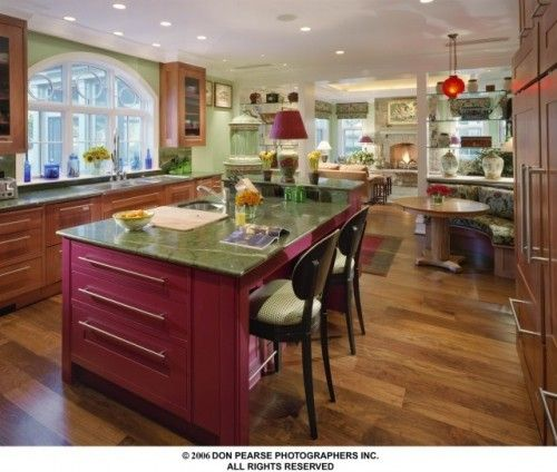 This Is A Bold Move, But Choosing A Punchy Color For One Area In Your  Kitchen, Such As This Cranberry Color For The Island, Ensures A Fresh Look  No Matter ...