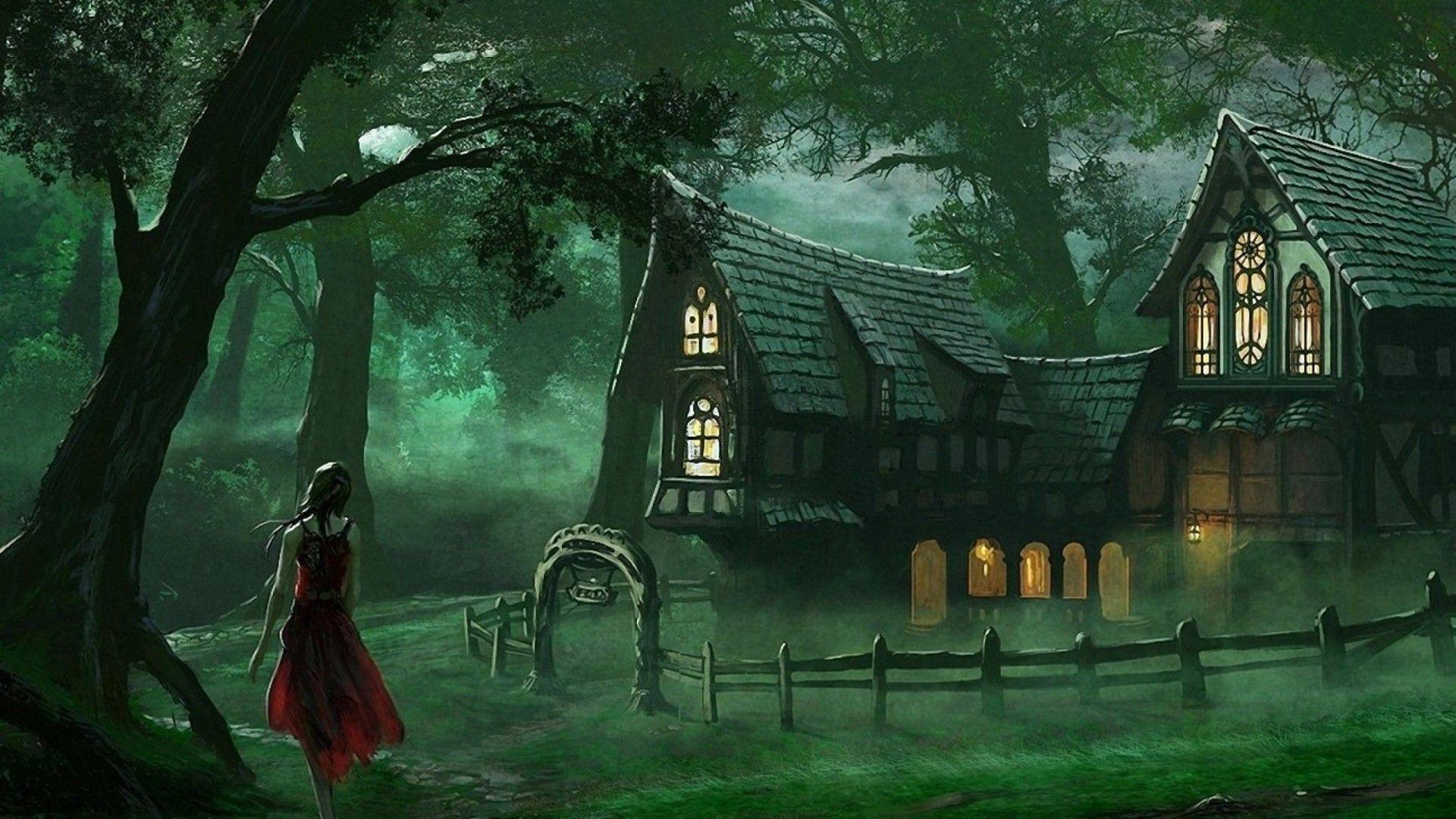 Spooky House Fantasy Forest Wallpaper HD 1920 1080