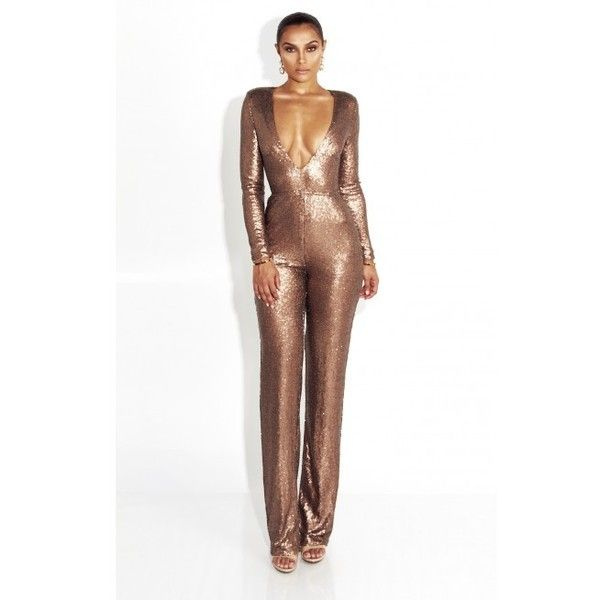 Deep Gold 1988 Statement Sequin Jumpsuit ($70) ❤ liked on Polyvore featuring jumpsuits, gold jumpsuit, white jump suit, white jumpsuit, gold sequin jumpsuit and gold jump suit